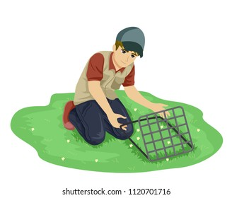 Illustration of a Teenage Guy Botanist Outdoors Collecting Samples Using the Quadrant Method