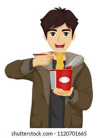 Illustration of a Teenage Guy Eating a Cup of Instant Noodles Using Chopsticks