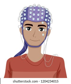 Illustration of a Teenage Guy with Electrodes on Scalp Undergoing EEG Test