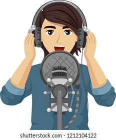Illustration of a Teenage Guy Holding Headphone and Speaking or Singing Over a Microphone