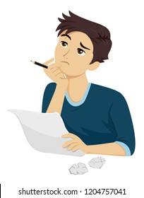 Illustration of a Teenage Guy Holding Pen and Paper Thinking of Something to Write