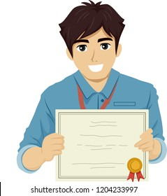 Illustration of a Teenage Guy Intern Showing an Award Certificate He Received