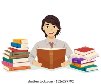 Illustration of a Teenage Guy Law Student Reading Books Among Stacks of More Books
