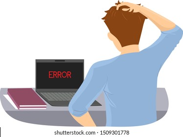 Illustration of a Teenage Guy Scratching His Head with Laptop with Error on Screen. Millennial Gap, No Knowledge in Basic Computer Troubleshooting