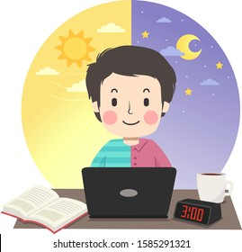 Illustration of a Teenage Guy Wearing Half Shirt and Half PJs and Studying with Laptop, Book and Digital Desk Clock on Table with Morning Sun and Night Moon and Stars at the Back