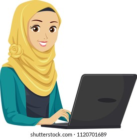Illustration of a Teenage Muslim Girl Student Using a Laptop