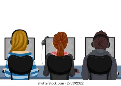 Illustration of Teenage Students Using Computers at the Computer Laboratory
