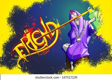 illustration of teenager making Happy Friendship Day graffiti