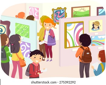Illustration of Teenagers Checking Out Paintings in an Art Exhibit