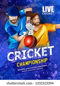 illustration of template or poster, header, banner design with batsman playing cricket championship