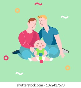 Illustration template vector with happy  gay family with child