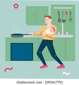 Illustration template vector with man holding a baby and cooking