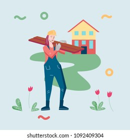Illustration template vector with women working a builder