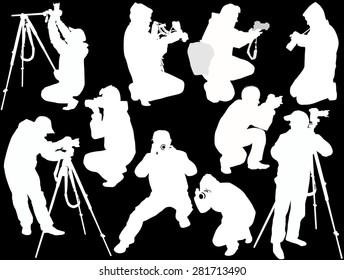 illustration with ten photographers isolated on black background