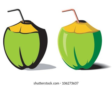 An illustration of a tender coconut