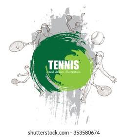 Illustration of Tennis. hand drawn.