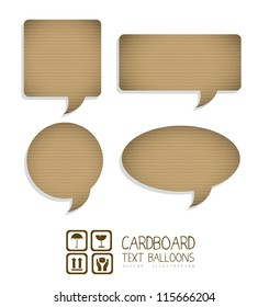 Illustration of text balloons with cardboard texture, corrugated cardboard, vector illustration
