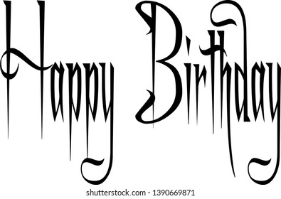 Illustration of text 'Happy Birthday' hand written in script with curves and flourishes on white background.