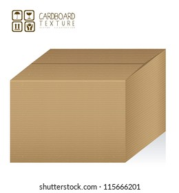 Illustration of textured cardboard box, corrugated cardboard, vector illustration