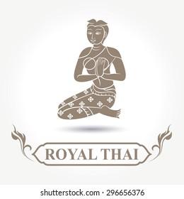 Illustration of Thai art lady greeting, vector
