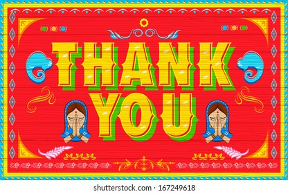 illustration of Thank You Poster India truck paint style