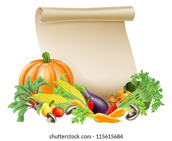 Illustration of thanksgiving; harvest festival or fresh produce scroll background of paper scroll surrounded by fresh vegetables and fruit with copyspace