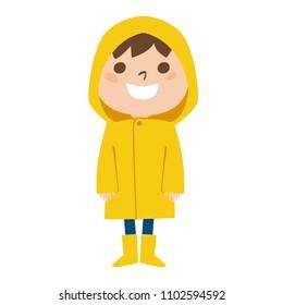 Illustration that boys wearing a yellow raincoat in the rainy season.