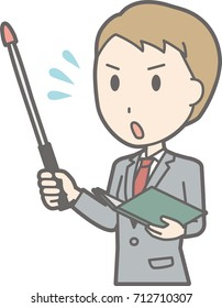 An illustration that a businessman wearing a suit is impatient with an instruction stick