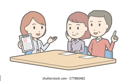 Illustration that a couple talking with a businesswoman vol.02 (Illustration that a middle-aged couple and a woman are talking)