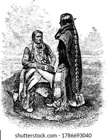 An illustration that depicts the Utes, an ethnically related group of American Indians, now living primarily in Utah and Colorado, vintage line drawing or engraving illustration.