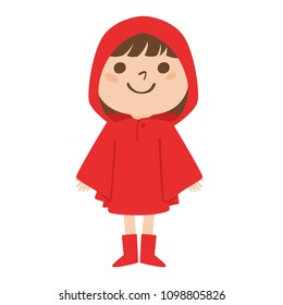 Illustration that girls wearing a red raincoat in the rainy season.