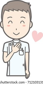 Illustration that a male nurse wearing a white coat laughs with a hand on her chest