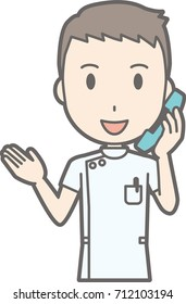 Illustration that a male nurse wearing a white coat is talking on the phone