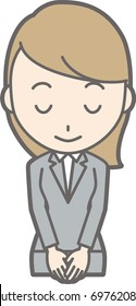 Illustration that a young woman in a suit bows with a smile
