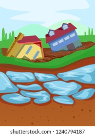 Illustration of Thawing Permafrost Causing Houses to Fall Down