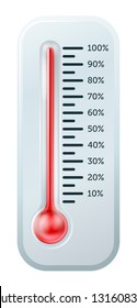 An illustration of a thermometer like those used  to illustrate goals or targets, or just to tell the temperature