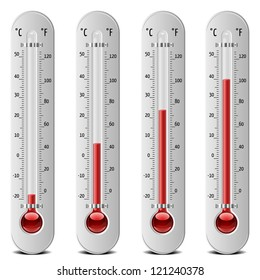 illustration of thermometers with different levels