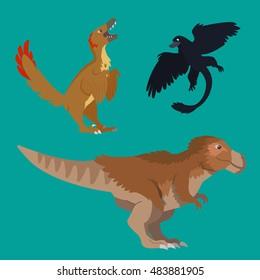 Illustration of theropod dinosaurs