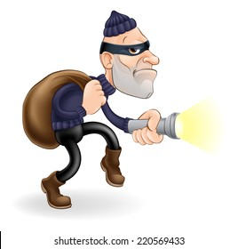 An illustration of a thief or burglar cartoon character with torch and sack