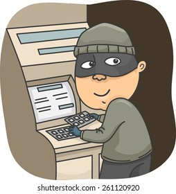 Illustration of a Thief Installing a Card Skimmer on an ATM