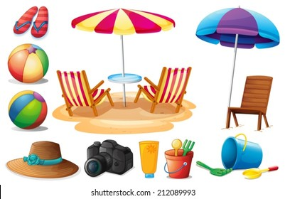 Illustration of the things found at the beach during summer on a white background