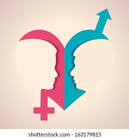 Illustration of thinking concept - human head with male female symbol