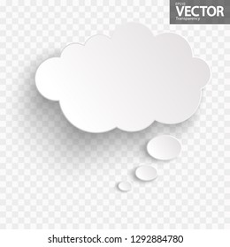 illustration of thought bubble with shadow looking like sticker with transparency in vector file