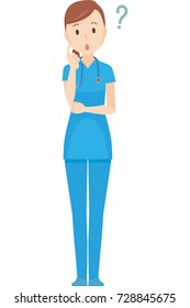 An illustration thought by a nurse wearing a blue scrub