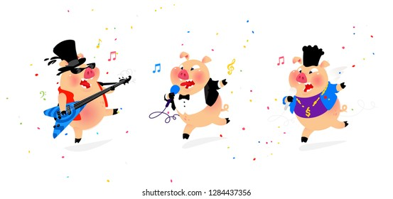Illustration of three cheerful pigs musicians. Vector. Flat style. Pig rock musician, pig pop singer. Candy and holiday. Characters for karaoke and shop. Leading corparatives.