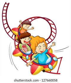 Illustration of three children riding in a roller coaster on a white background