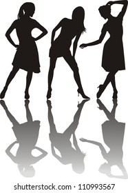 illustration of three dancing girls, black silhouettes on white background