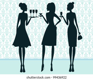 Illustration of three elegant women at a cocktail party.