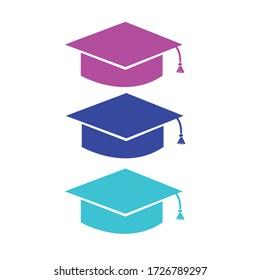 Illustration of three graduation hats, isolated vector