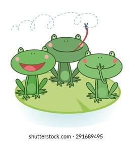 Illustration of three green frogs